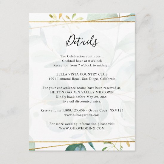 Greenery Eucalyptus Guest Information Details Enclosure Card