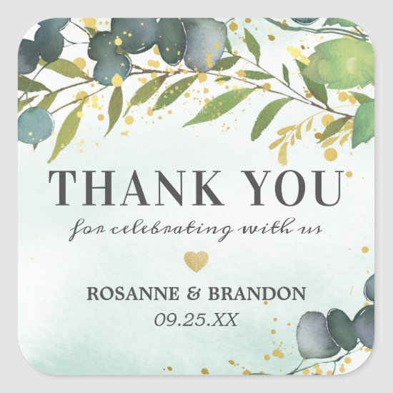 Greenery Gold Favor Thank You Square Sticker