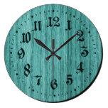 Greenish Blue Rustic Wooden Clock