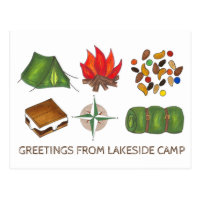 Greetings from Camp Campfire Tent Trail Mix S'more Postcard