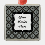 Grey Black Crisscross Christmas Tree Ornament