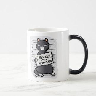 Grey cat - mugshot - cat cartoon magic mug