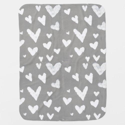 Grey with White Hearts, Original Design Art Stroller Blanket