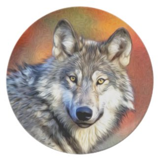 Grey Wolf Art Painting Dinner Plate