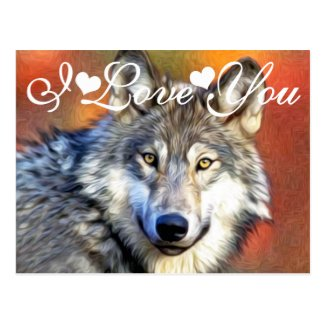 Grey Wolf Art Painting Photo Image I Love You Post Cards