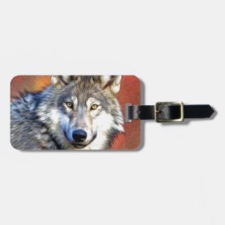 Grey Wolf Art Painting Tag For Bags