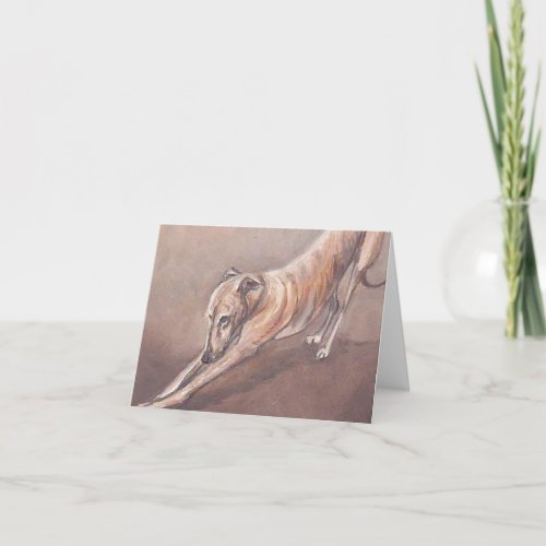 Greyhound Stretch Dog Art Note Card