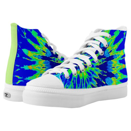 Groovy Blue and Lime Green Spiral Tie Dye Printed Shoes