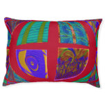 Groovy Colorful Red Abstract Large Dog Bed