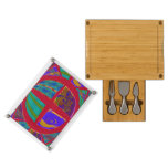 Groovy Colorful Red Abstract Rectangular Cheeseboard