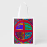 Groovy Colorful Red Abstract Reusable Grocery Bag