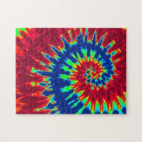 Groovy Red and Navy Blue Tie Dye Spiral Jigsaw Puzzles