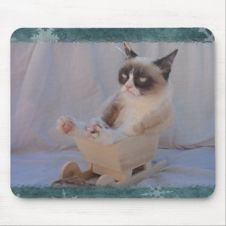 Grumpy Cat Blue Snowflake Mousepad