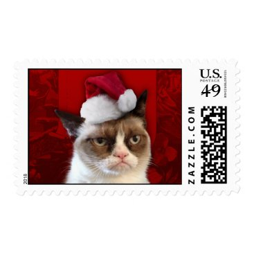 Grumpy Cat in a Santa Hat Postage