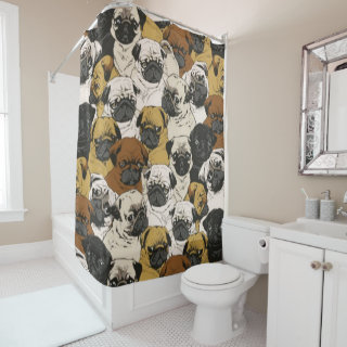 Grumpy Pugs / Funny Cute Pug Dogs Puppies Pattern Shower Curtain
