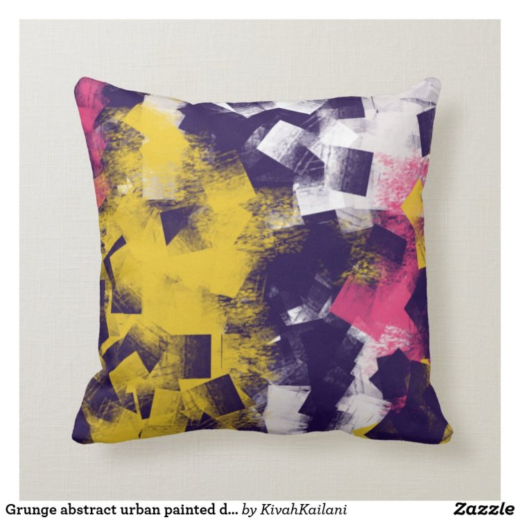 Grunge abstract urban painted decorative pillow