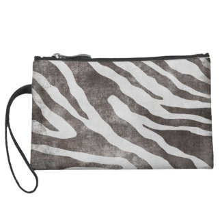 Grunge Animal Print Suede Mini Clutch Wristlets