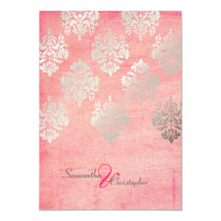 Whole Charming Silver Ribbon Blush Pink Pocket Spring Flower Wedding Invitation Wpf4007