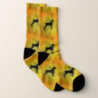Grunge Doberman Pinscher Silhouette Socks