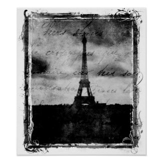 Grunge Edge Paris Poster