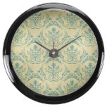grunge,vintage,rustic,mint,brown,damask,chic,trend aqua clock