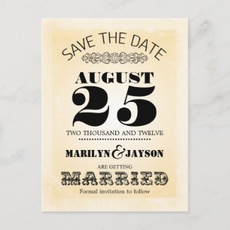 grungy vintage typography save the date postcard