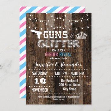 Guns or Glitter Gender Reveal Invitation