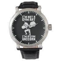 Gym Rat vs Gym Unicorn - Funny Workout Inspiration Wristwatch