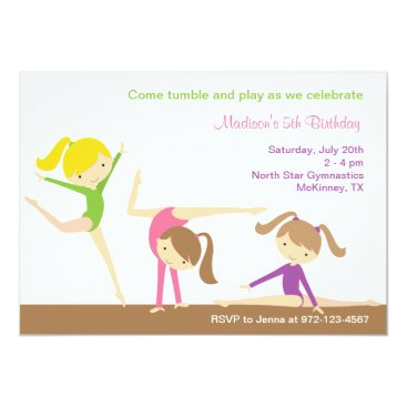 Gymnastics Girls Birthday Party Invitation