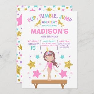 gymnastics birthday invitations zazzle