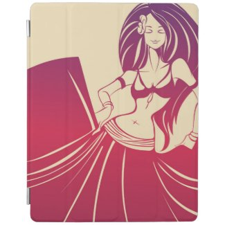 keyword,young, women, girl, flowing, hair, dancing, tribal, gypsy, fusion, belly, dance, pink, raspberry, milk white, creme, color, graphic, design, illustration. Color  illustration of a young woman in circle skirt with flowing hair dancing tribal, gypsy, fusion belly dance.Dark to light moderate pink color (raspberry) on milk white color (creme) background. Gypsy Flower Power