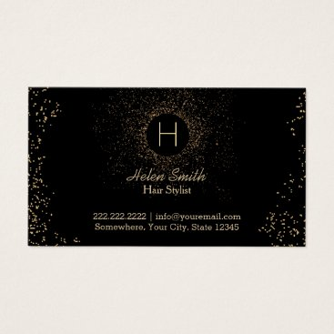 Hair Stylist Chic Gold Confetti Monogram Business Card