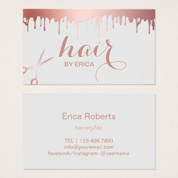 Hair Stylist Modern Rose Gold Scissor Beauty Salon Business Card