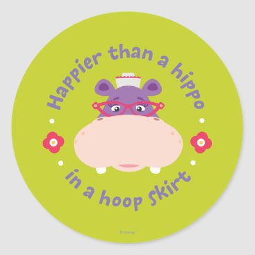 Hallie -Happier Than a Hippo in a Hoop Skirt Classic Round Sticker
