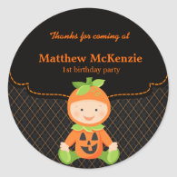 Halloween birthday costume classic round sticker