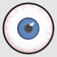 Halloween Blue Eyeball Classic Round Sticker