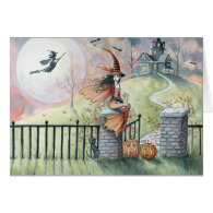 Halloween Card 'Trick or Treat' Witch