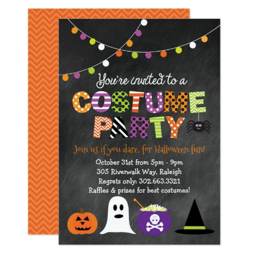 Halloween Costume Party Chalkboard Invitation