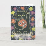 Hallowe'en Greetings - Lucky Black Cat and JOL Card