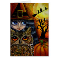 Halloween Owl Witch Card