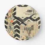 Halloween,pattern,vintage,rustic,old,victorian,col Round Wall Clocks