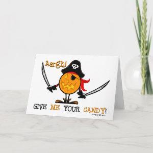 Halloween Pirate Pumpkin Card
