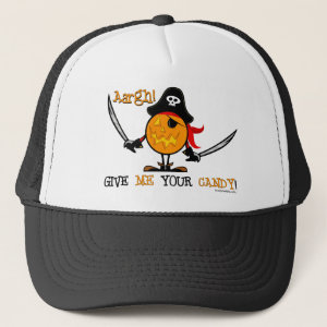 Halloween Pirate Pumpkin Trucker Hat