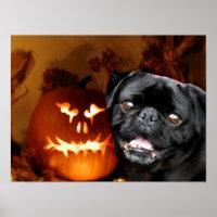 Halloween Pug Dog Poster