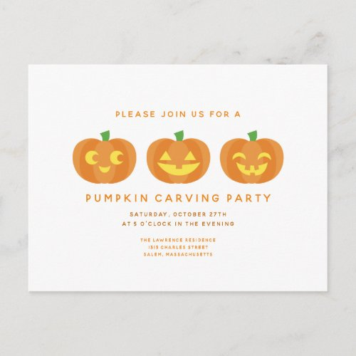 Halloween Pumpkin Carving Party Postcard Invite
