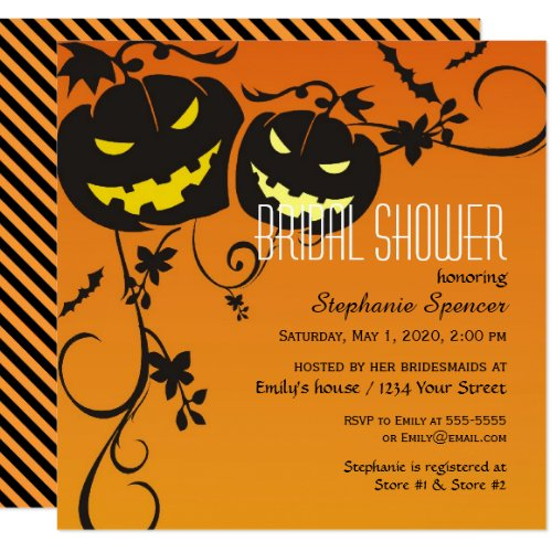Halloween Pumpkins Bridal Shower Invitation