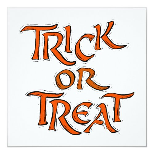 Halloween Trick or Treat Words Invitation