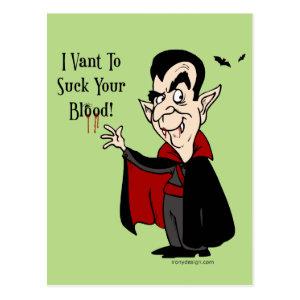 Halloween Vampire Sucks Your Blood! Postcard