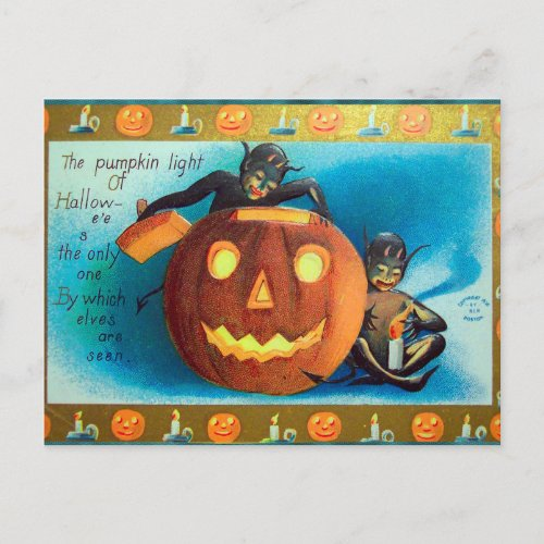Halloween Vintage pumpkin elves Holiday postcard