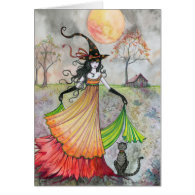 Halloween Witch Cat Card Autumn Reverie